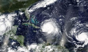 An aerial image of hurricane cloud fomations